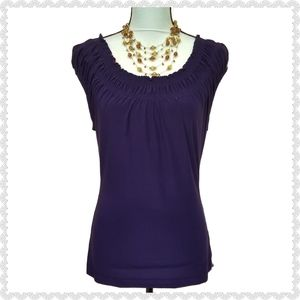 The Limited Boat Neck Ruffled Elastic Purple Top M